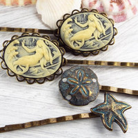 Mermaid Cameo, Sand Dollar and Starfish Bobby Pin Set