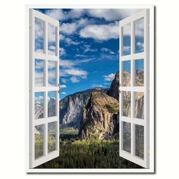 Tunnel View Yosemite National Park California Picture French Window Canvas Print with Frame Gifts Home Decor Wall Art Collection
