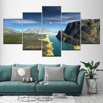 5 Pieces Snow Mountains Rivers Natural Landscape Paintings Decor Frame Wall Art