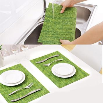 Chic Waterproof PVC Dining Table Mat Disc Pads Bowl Pad Coasters Table cloth pad slip-resistant pad PVC Weave Placemat