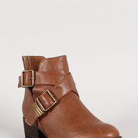Breckelle Double Buckle Criss Cross Round Toe Cutout Booties
