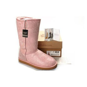 Ugg Boots Black Friday Classic Patent Paisley 5852 Pink For Women 106 12