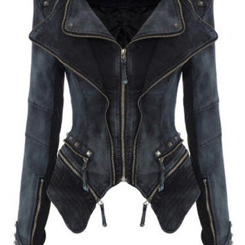 Black Zipper Asymmetrical Long Sleeve Denim Jacket