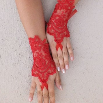 love red lace gloves, french lace gloves fingerless glove free ship, wedding glove