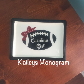 Monogrammed Jewelry Tray Gamecocks Carolina Girls Trinket Box USC Ceramic Dish Game Day Dorm Room Tail Gate Kaileysmonogram Kaileys Monogram