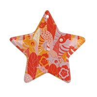 "Akwaflorell ""Fishes Here, Fishes There"" Orange Red Ceramic Star Ornament"