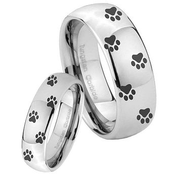 His Her Classic Mirror Dome Paw Print Design Tungsten Carbide Silver Rings Set