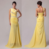 Grace Karin One Shoulder Mermaid Long Prom Party Dresses Formal Evening Dress = 1956819908