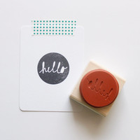 Circle Hello Rubber Stamp