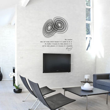 Science art physics Poincare quote & Lorenz strange attractor large vinyl wall decal educational art