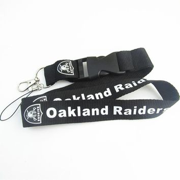 New Fashion Oakland Raiders Keychain Lanyard Neck Strap Key Ring For ID Pass Card Badge Gym Key Mobile Phone USB Holder Lanyard