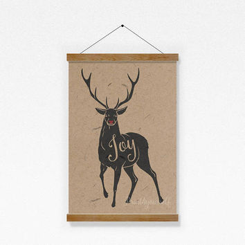 Christmas Stag Print  // Rudolph Print // Instant Download Christmas Print // Christmas Art // Holiday Stag Art // Joy Print
