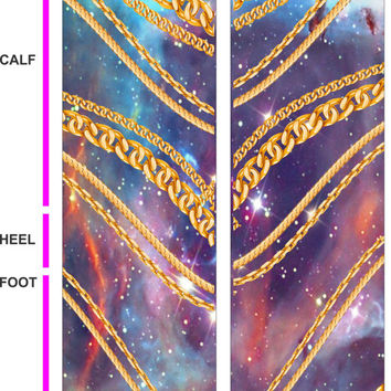 Bling in Space - Socks - Gold Galaxy