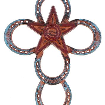 Decorative Cast Iron Horseshoe / Star Western Wall Cross - Rustic Enamel Finish