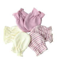 Organic Cotton Unisex Baby Scratch Hand Guard Gloves Mittens Pack, Chemical & Dye-Free