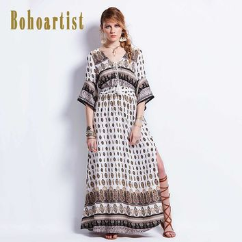 Bohoartist Ladies Long Dress Chiffon V Neck Side Split Tassels  Flare Sleeve Lace Up Summer Party Elegant Sexy Maxi Dresses