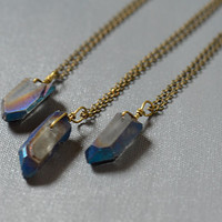 Natural Blue Titanium Aura Quartz Quartz Rough Point Pendant on Antique Bronze Chain