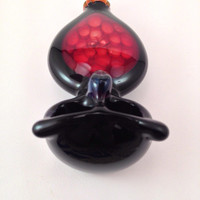 PRICE REDUCED! Red and Black Double Bowl Owl Pipe with Honeycomb