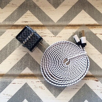 New Super Cute Jeweled Black & White ZigZag Designed Dual USB Wall Connector + 6ft Flat White Braided iphone 5/5s/5c Cable Cord