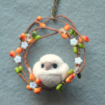 Handmade owl ornament / charm, needle felted owl on wreath ornament, Christmas tree ornament, handbag charm, gift under 20