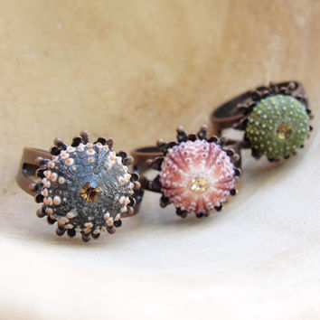 Sea Urchin Ring - Mini Copper Ring - Pink Green Brown - Pick Your Color