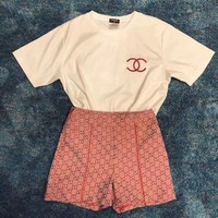 CHANEL + Gucci  Print Short sleeve Top Shorts Pants Sweatpants Set Two-Piece Sportswear