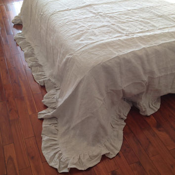 Shabby chic Pre washed 100% Natural Flax Linen Bedding sheet Bed skirt bed spread cover summer blanket ruffle king