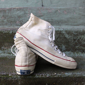 VTG 60s Converse Chuck Taylor Blue Label Hi-Top White Sneakers 10.5 Players Name
