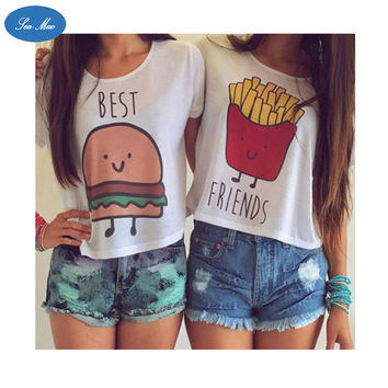 Sea mao 2016 Summer Harajuku Punk t shirt Women Hamburger And French Fries Printed Female T shirt Best Friends Funny Tees