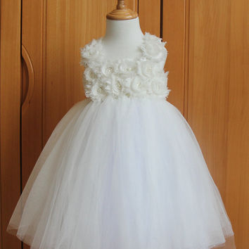 Rustic White Flower Girl Dress Shabby Flowers Girl Dress Tulle Dress Wedding Dress Birthday dress Party dress 1T 3T Tutu Dress Toddler Dress