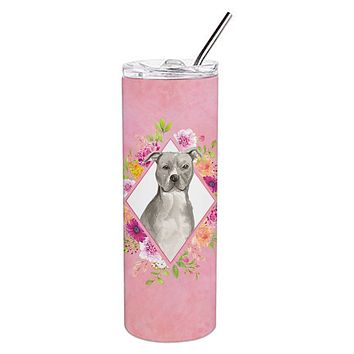 Blue Pit Bull Terrier Pink Flowers Double Walled Stainless Steel 20 oz Skinny Tumbler CK4269TBL20