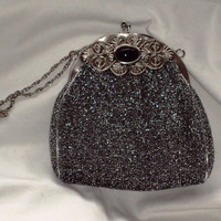 Harry Levine Repousse Purse HL USA Vintage Lurex Silver Metal Frame Evening Bag