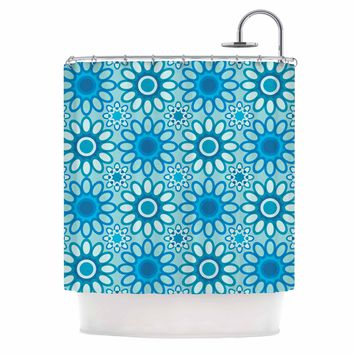 "julia grifol ""Aqua Flowers Tile"" Blue Floral Pattern Vector Digital Shower Curtain"