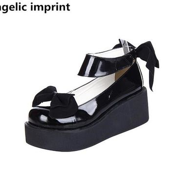 Angelic imprint woman mori girl lolita cosplay shoes lady high wedges heels pumps women princess dress party shoes 6.5cm 33-47