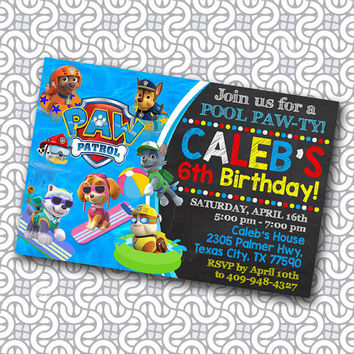 paw patrol - paw patrol invitation - paw patrol birthday - paw patrol party - paw patrol birthday invitation - paw patrol pool party