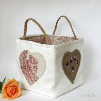 Linen Storage Basket- Linen Organizer Bin- Fabric Basket- Ivory Linen and French Toile of Jouy