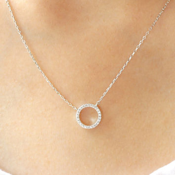 Karma Silver Necklace, Sterling Silver Circle Necklace, Bridesmaid gift, Karma CZ Necklace, Silver Karma necklace,Micro Pave Circle Necklace