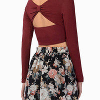 Burgundy Long Sleeve Crop Top with Cut Out Back