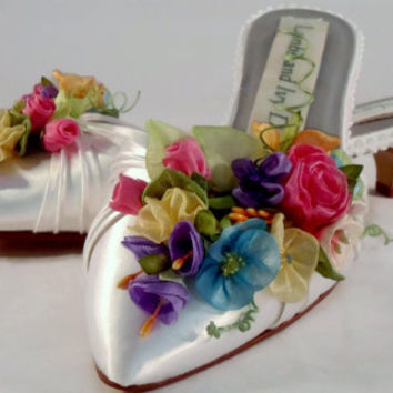 Rainbow Flowers Bride's Shoes Spring Flowers Couture Shoes Princess Shoes, Garden Kitten Heels, Jewel Tone Flowers, Spring Flower Shoes
