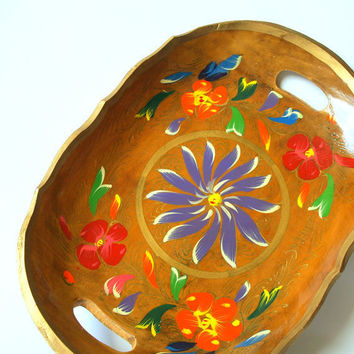 60's VINTAGE BRIGHT COLORFUL Botanical Mexican Tole Wood Tray Hand Painted Floral Fruit Bowl in Ethnic Folk Style