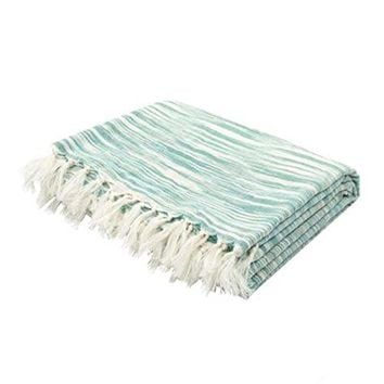 Ben and Jonah So Soft Throw Blanket With Fringes (Jet Green/Ivory)