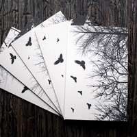 Blank Card 5 Pack Tree Bird Silhouette