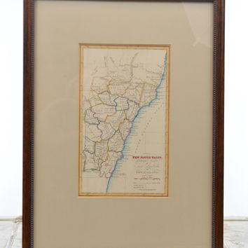 Original Hand Colored 1836 Map of New South Wales Australia Framed
