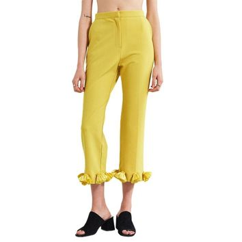 2018 New Style Office Women Pants Yellow Hem Ruffle Ladies Long Pants Slim Female Bottom Fashion Women Work Pants Trousers