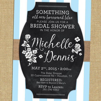 Something Blue Bridal Shower Invite Rustic Chalkboard Bridal Shower Invite  Blue Bridal Shower Invitation