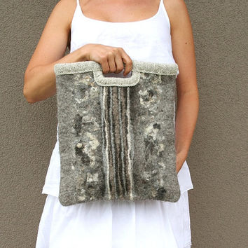 Felted wool bag Symphony gray - gift idea under 100 - great organizer - gift for music books - handmade