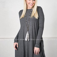 Long Sleeve Swing Dress with Pockets | Grey