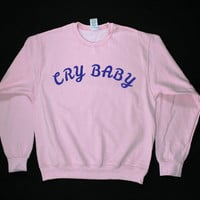 Cry Baby Graphic Print Unisex Pink Sweatshirt