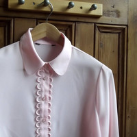classic womens shirt blouse pink collar preppy uk long sleeves top office casual