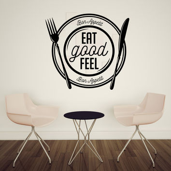 Wall Vinyl Decal Bon Appetit Eat Good Feel Dining room Kitchen  Decor Unique Gift z4775
